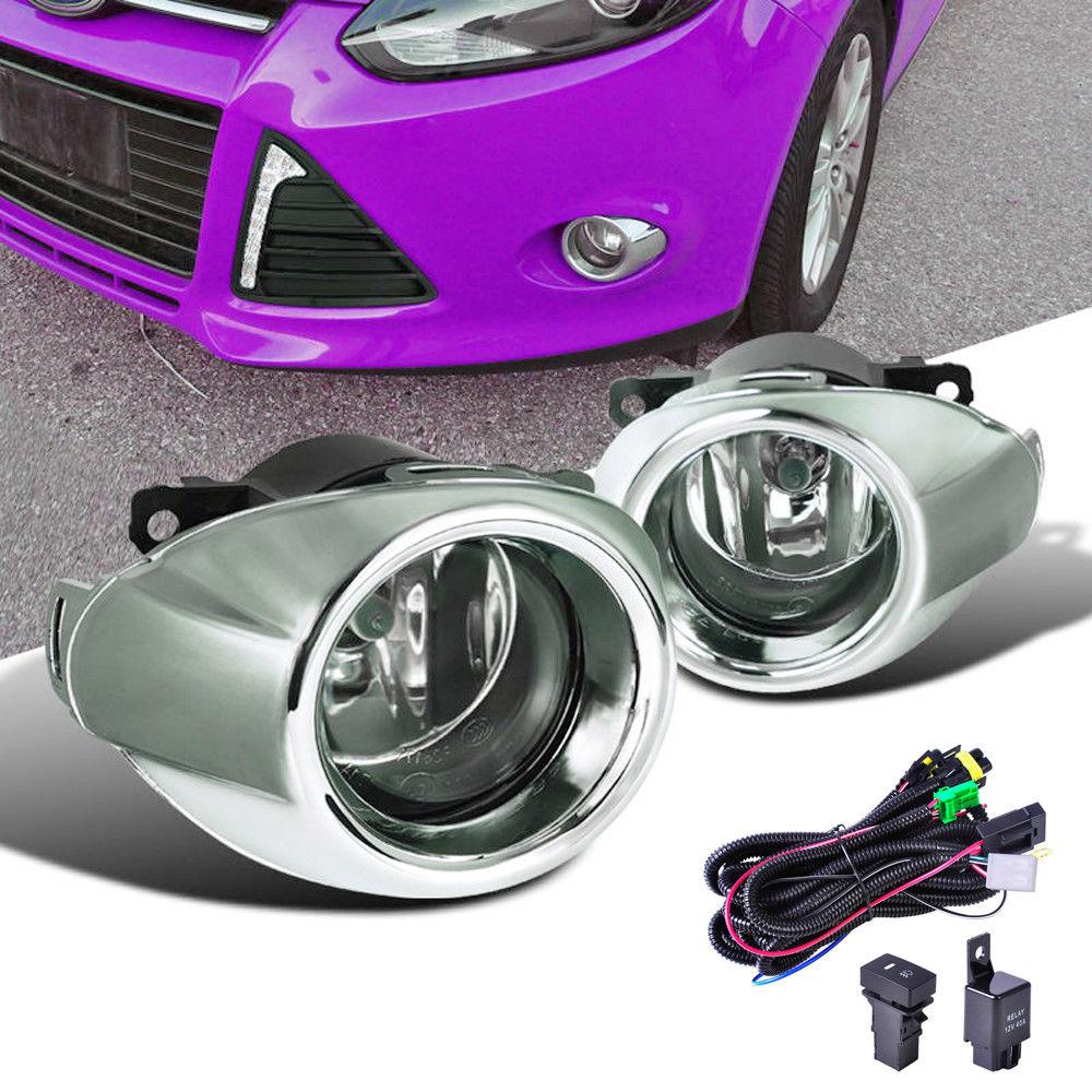 Chrome Front Bumper Hole Fog Lamp Light Cover Left /& Right For Ford Focus 12-14