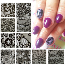 10 designs/sets 3d Sexy Black Colors Nail Art Holo Lace for Nail Art Tips Adhesive Sticker Transfer Foils DIY Wraps LB01-10