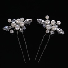 FORSEVEN 2pcs/lot New Arrival Luxury Hair Sticks Hairwear For Women Pearls Glass Hair Stick Romantic Hairpin wedding Jewelry(China)