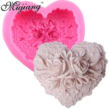 3D Handmade Soap Molds Silicone Cake Fandont Mold Heart Shape Flower Rose Candle Clay Moulds Kicchen Cake Baking Tools CC054(China)
