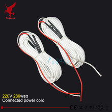 24K 10meters 280W 17ohm carbon fiber heating wire Heating cable Connected power cord Low cost silicone rubber heating wire White