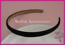 10PCS 12mm Black Satin Fabric Covered Plain Plastic Headbands with velvet back,fabric wrapped hairband hair accessories