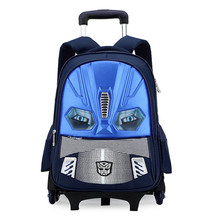 Kids Wheels Removable Trolley Backpack Wheeled Bags Children School Bag Boys Travel Bags Children's School Backpacks mochilas(China)