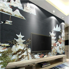 beibehang Large - scale custom wallpaper Slim Jade Carving ancient city Chinese wind TV backdrop 3d wallpaper room painting
