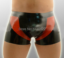 Buy Men Sexy Black Latex Briefs Red Trim Fetish Rubber Boxer Pants Men Plus Size Hot Sale Customize service