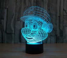 7 Colors Super Mario Bros Action Figures Starfleet 3D Table Lamp Led Toys Funny Gift Decoration Game Mario Kart