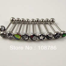 12pcs/lot Mix Design free shipping tongue barbell logo ring tongue nail Rings, body jewelry piercing jewellery