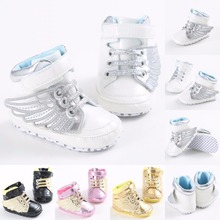 Angel Wings Baby Boys Girls Non-slip PU Leather Newborn Baby First Walkers Shoes Infant Child Gold Pony Wing Toddler Boots Shoe