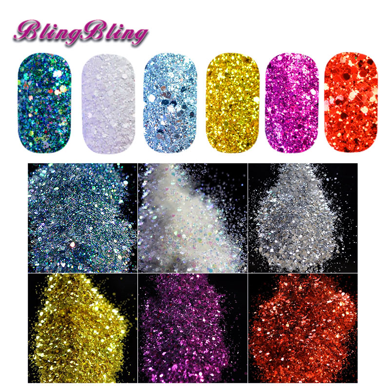 6 Color Nail Glitter Powder Nail Dust DIY Nail Glitter Slices Blend called Palace Acrylic Tips UV Gel Manicure Nail Art Pigment(China (Mainland))