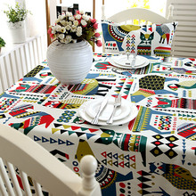 Cotton Thick Canvas table cloth Christmas Elk Polar Bear Blue Coffee Party table cloth home hotel table cloth(China)