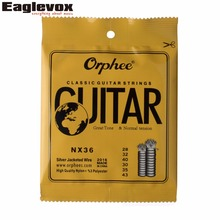 "Sliver Jacketed Hard Tension Classic Guitar Strings 028/043"" High Quality Nylon Orphee NX36"