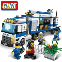 GUDI Mobile Police Station 407 Pcs Bricks Without Box City Police Single Sale Assemble Building Blocks Set Toys For Children