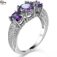 NFS Women Fashion Purple stone Ring 5A Zircon Jewelry 10KT White Gold Filled Finger Rings Wedding Brand Engagement