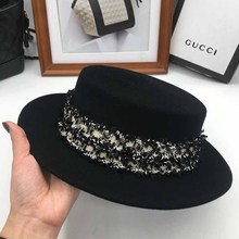 European and American new woolen M standard top flat eaves hat winding retro hat personality fashion hat English hat(China)