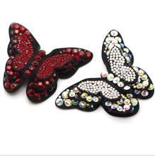2pcs/lot New Butterfly Crystal AB Hot Fix Rhinestones DIY Past On Shoes Dress Garment Accessries rhinestone applique(China)
