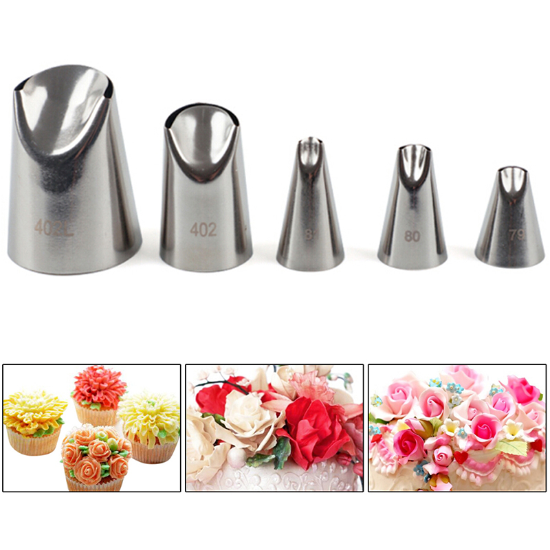5Pcs/Set chrysanthemum Flower Icing Piping Nozzles Tips Cake Decoration Tools Kitchen Pastry Cupcake Baking Pastry Tools