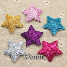 3.3m 20pcs mix color Star Non-woven patches glitter Felt Appliques for clothes Sewing Supplies diy craft ornament