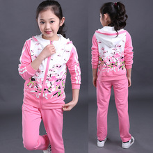 Fashion boutique kids brand name clothing sport pants and jacket girls outfits fall winter(China)