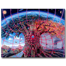 NICOLESHENTING GAIA - Alex Grey Psychedelic Abstract Art Silk Fabric Poster Huge Print Trippy Picture Home Wall Decor 022(China)