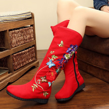 Vintage Embroidery Boots Ethnic Floral Knee Boots Retro Butterfly Embroidered High Quality Winter Warm Zipper Shoes Woman