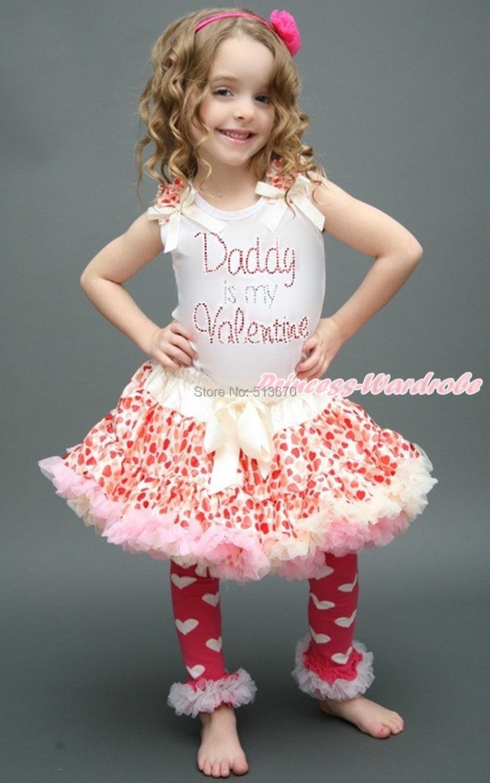 White Top Shirt Rhinestone Daddy Is My Valentine Beige Hearts Pettiskirt 1-8Year MAPSA0155<br>