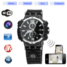P2P WIFI Smart Watch with  Camera IR Night Vision Remote Video Monitor and Recorder Special Camera Watch Built-in Compass