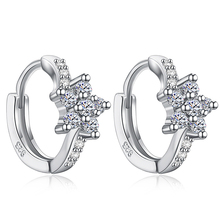 Atreus Sparkling Flower Silver Attractive CZ Zircon Lady's Hoop Earrings Wholesale Bijoux Jewelry Brincos Pendientes Mujer(China)