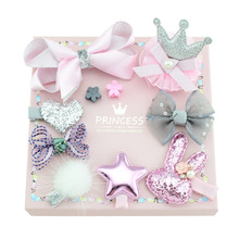 10pcs/set  New Fashion Different Designs Heart Flower Crown Fur Ball Stars Hair Bows With Clip Bow Girls Hair Accessories 2017