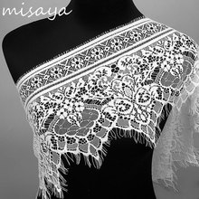 Misaya 3Yards/lot Big Eyelashes Lace Trim Flower Black White Lace Fabric Handmade DIY Clothes Accessories Width 25CM