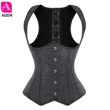 AIZEN overbust corset vest top steel boned underbust corset straps waist cincher sexy corsets for women party gray clothing(China)