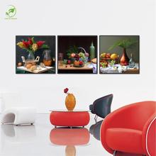 Melamine Sponge Board Canvas Oil Painting 3pcs Flower Bottle Fruits Food Pictures Room Wall Art Paint Landscape Frame Prints Art