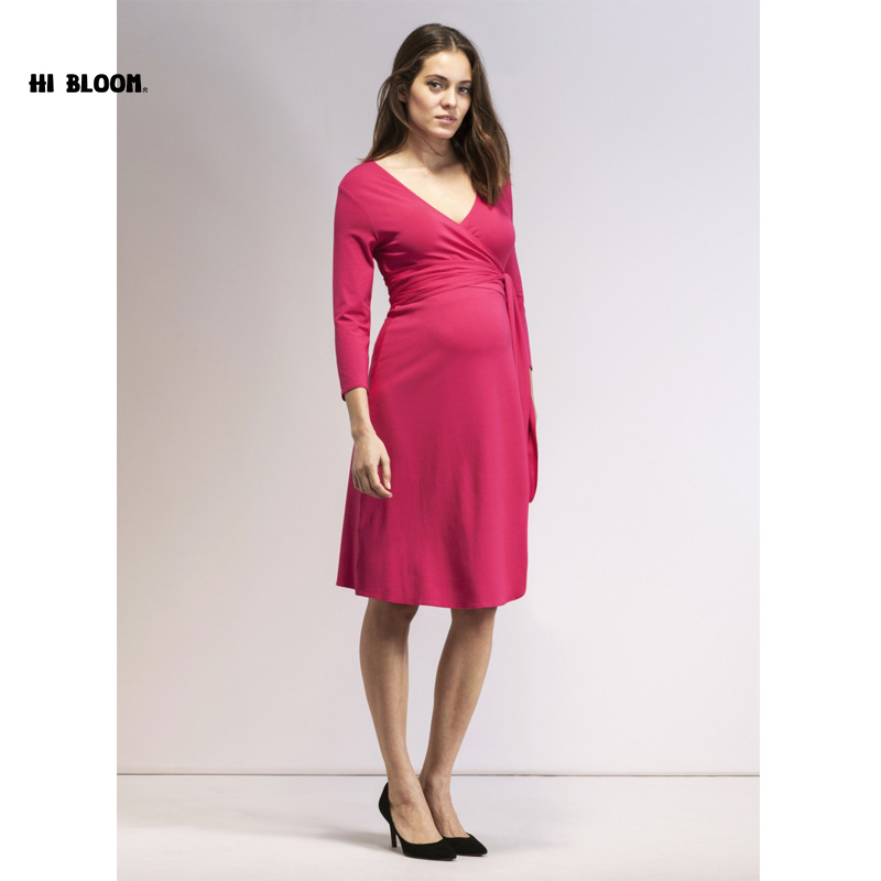 Brand Maternity Clothes Elastic Maternity Dress Nice Evening Party Dress For Pregnant Women Elegant Spring Lady Vestidos<br>