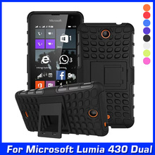 Luxury Hybrid Shock Proof Silicone + Hard Shell Mobile Phone Case Cover For Microsoft Lumia 430 Dual SIM Case Back Cover & Gift