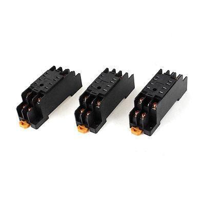 PYF-08A 8 Pins 8P DIN Rail Mount Relay Socket Base 3 Pcs for MY2NJ<br>