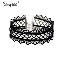 Simplee Hollow out lace black choker women clothing accessories Short punk vintage chain necklace Flower fine jewelry necklace(China)