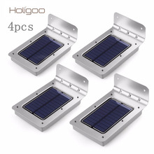 Holigoo 4pcs LED Solar Light 16 LED Outdoor Wireless Solar Powered Sensor Solar Lamp/ Wall lamp/ Security lights/Garden Light