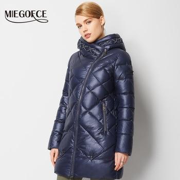 Miegofce 2016 nuevo invierno cabida de las mujeres chaqueta abajo capa caliente de alta calidad de la Mujer de Down Parka mujeres Abrigo de Invierno con Capucha de la venta caliente