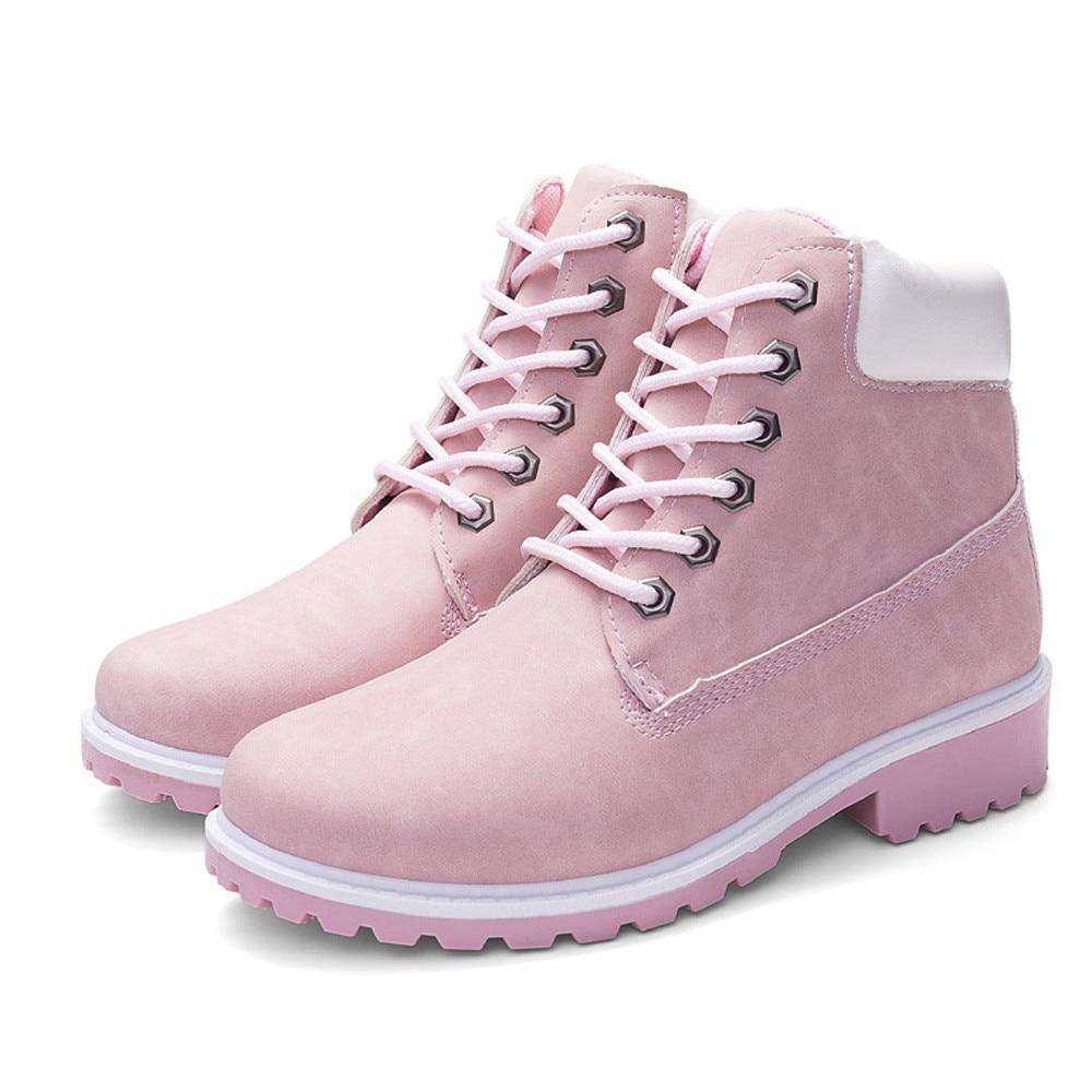 Szyadeou Women Ladies Round Toe Lace-up Faux Boots Ankle Casual Martin Shoes botas mujer invierno kozaki damskie schoenen 30 12