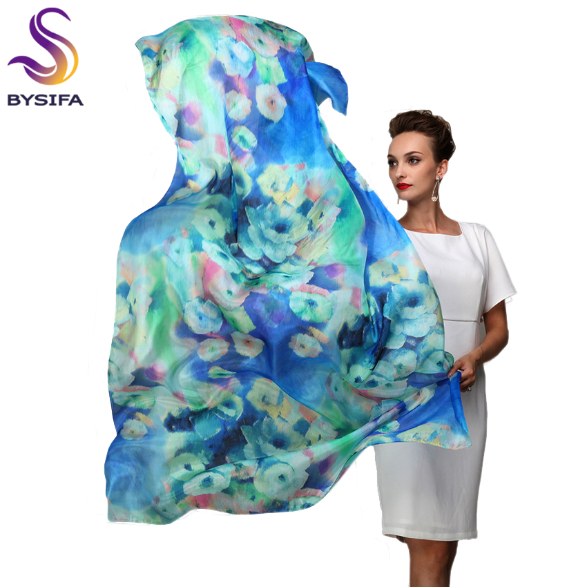 2016 Women Winter Long Scarf Shawl Spring Autumn Female Blue Silk Scarves Printed Summer 100% Mulberry Silk Beach Cover-ups(China)