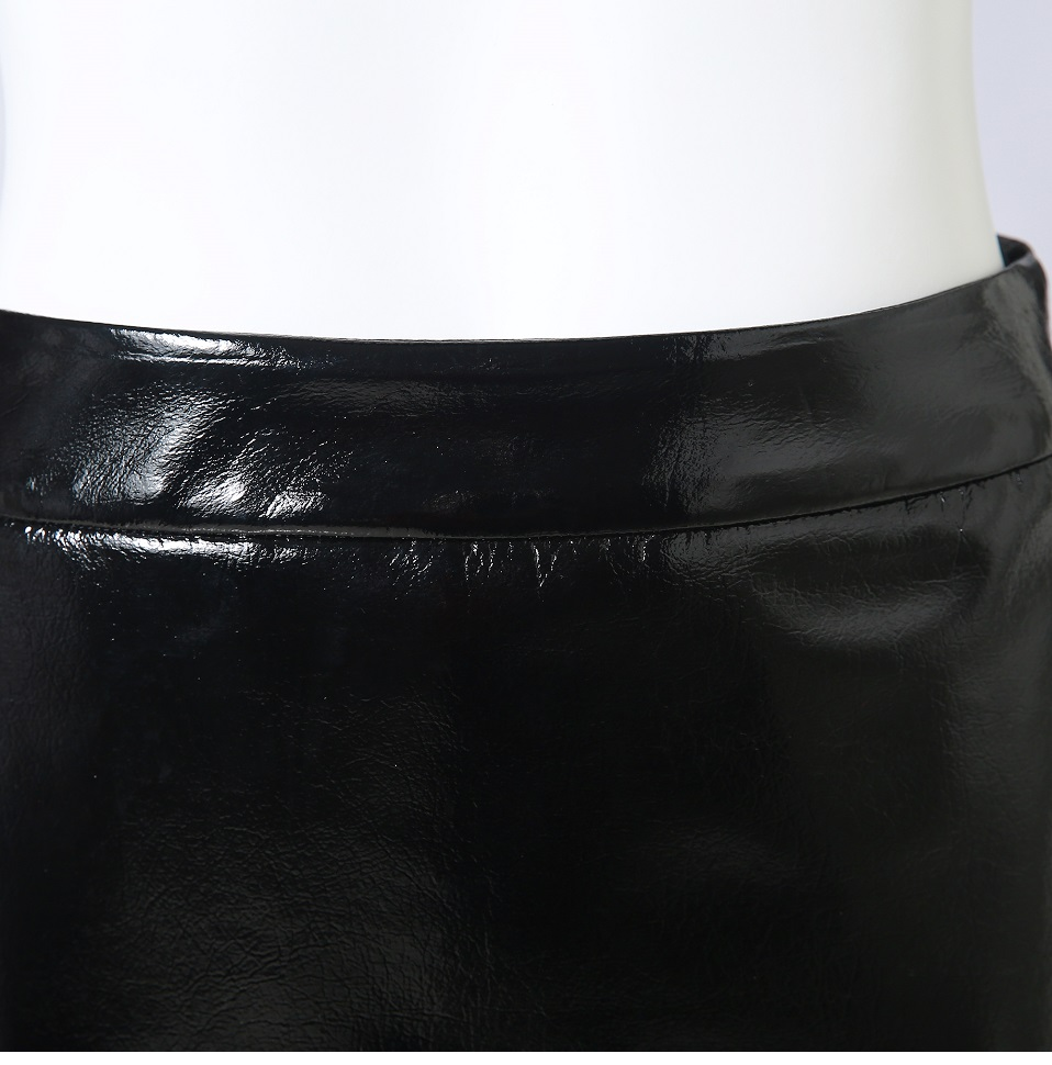 Autumn Winter Women Sexy Mini Skirt Black faux Patent Leather Female Short Pencil Skirt Zipper Fashion Streetwear Skirts Talever 15