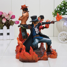 15-17cm 3pcs/set Anime One Piece DXF Luffy Ace Sabo PVC Action Figures Model Toys(China)