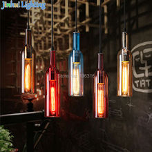 6 colors colorful wine bottle glass North Europe brief modern pendant lamps for resteraunt,coffee shop,snack shop ceiling lamp(China)
