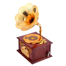 Retro Phonograph Shape Music Box Gift Classic Gold Trumpet Horn Creative Crafts