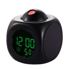7.5*7.5cm Multifunction Vibe LCD Talking Projection Alarm Clock Time & Temp Display Calendar/Temperature/Time Display