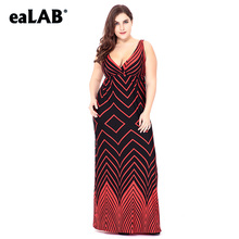 eaLAB women summer dress plus size fashion blue clothes lace Striped skirt L-6X SQ0066B-1