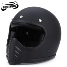 Motorcycle Full Face Helmets Safety Retro Unisex Detachable Motorbike Helmet ABS Shell L