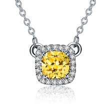 THREEMAN Excellent Design Hot sale 2 Carat Yellow Cushion Cut Synthetic Diamonds Engagement Pendant Necklace S925 Sweater Chain