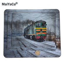 MaiYaCa Locomotive On Snowy Railroad Mouse Pad Size 18*22cm and 25*29cm Mouse Mats and  Lock Edge and No Lock Edge Mouse Pad
