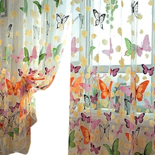 Butterfly Printed Tulle Voile Door Window Balcony Sheer Panel Screen Curtain New Arrival