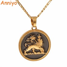 Anniyo Ethiopian Gold Color Lion Pendant & Necklace for Women/Men the Lion of Judah Jewelry Charms Ethnic African Gifts #092706(China)